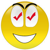 Happy smiley with checkmark signs at eyes Royalty Free Stock Photography