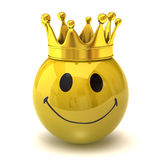Happy smiley with crown. Isolated on white background Royalty Free Stock Image