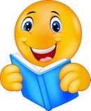Happy smiley emoticon reading book Stock Image