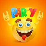 Happy Smiley Emoticon Yellow Face. Party Concept icon Stock Image