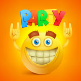 Happy Smiley Emoticon Yellow Face. Party Concept icon Royalty Free Stock Images