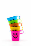 Happy smiley faces mug in row. Stock Images