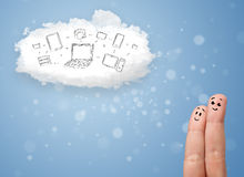 Happy smiley fingers looking at cloud computing with technology. Happy cheerful smiley fingers looking at cloud computing with technology icons royalty free stock image
