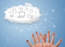 Happy smiley fingers looking at cloud computing with technology. Happy cheerful smiley fingers looking at cloud computing with technology icons royalty free stock photography