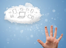 Happy smiley fingers looking at cloud computing with technology. Happy cheerful smiley fingers looking at cloud computing with technology icons stock photography