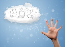 Happy smiley fingers looking at cloud computing with technology. Happy cheerful smiley fingers looking at cloud computing with technology icons stock image
