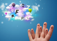 Happy smiley fingers looking at colorful magical clouds and ball. Happy cheerful smiley fingers looking at colorful magical clouds and balloons illustration Stock Photography