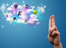 Happy smiley fingers looking at colorful magical clouds and ball. Happy cheerful smiley fingers looking at colorful magical clouds and balloons illustration Royalty Free Stock Photo