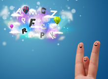 Happy smiley fingers looking at colorful magical clouds and ball. Happy cheerful smiley fingers looking at colorful magical clouds and balloons illustration Stock Photos