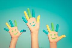 Happy smiley hands Stock Photos