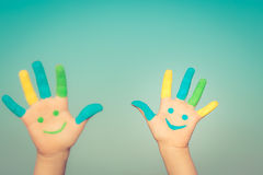 Happy smiley hands stock photography