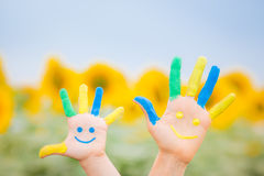 Happy smiley hands Royalty Free Stock Image