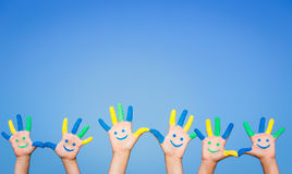 Happy smiley hands royalty free stock photos