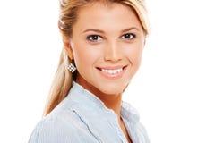 Happy smiley model over white background Stock Photo