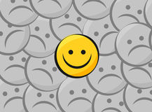Happy smiley over sad smiley Royalty Free Stock Images