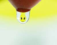Happy smiley refraction in a water drop Royalty Free Stock Photos