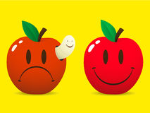 Happy smiley and sad apple. Happy smiley apple and sad apple with maggot / worm stock illustration