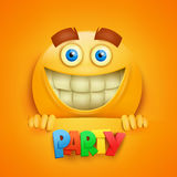 Happy smiley yellow round face. Party title Royalty Free Stock Photos