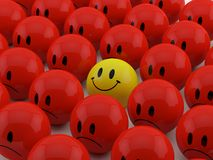 Happy smileys. Yellow faces in group Stock Images