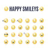 Happy smileys vector icon set. Emoticons pictograms collection. Happy round yellow smileys. Large collection of smiles vector illustration