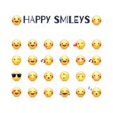 Happy smileys vector icon set. Joy emoticons pictograms collection. Happy round yellow smileys. Laughing, joyful, in stock illustration