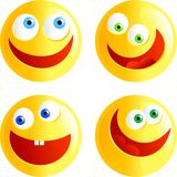 Happy smilies. Set of yellow happy faced smilie emoticons isolated on white Vector Illustration