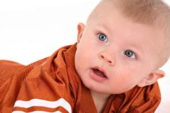 Happy smiling 6-month old baby boy portrait Royalty Free Stock Photos