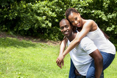 Happy smiling African couple royalty free stock image