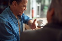 Happy smiling aged man enjoying meeting in cafe royalty free stock images