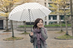 Happy smiling Asian woman holding an umbrella Stock Photography
