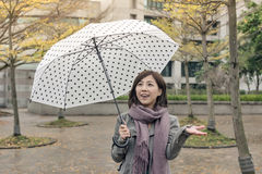 Happy smiling Asian woman holding an umbrella Royalty Free Stock Photos
