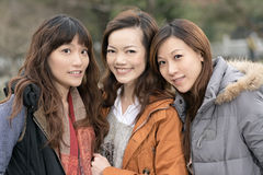 Happy smiling Asian women in the park Royalty Free Stock Photos