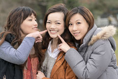 Happy smiling Asian women in the park Stock Photos