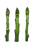 Happy smiling asparagus spears Royalty Free Stock Photography