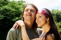 Happy smiling attractive couple together outdoors Stock Image
