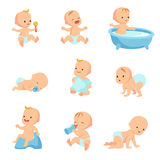 Happy smiling baby. Cute cartoon toddlers vector set royalty free illustration