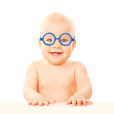Happy smiling baby in glasses. Royalty Free Stock Photo
