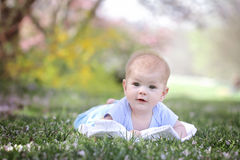 Happy Smiling Baby in Grass Royalty Free Stock Photo