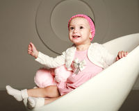Happy smiling baby infant in the studio Royalty Free Stock Photos