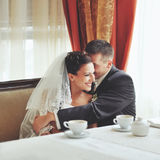 Happy smiling beautiful bride with groom Stock Photos