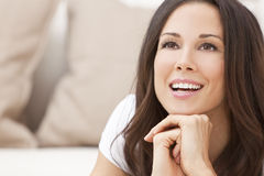 Happy Smiling Beautiful Brunette Woman Stock Photo