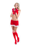 Happy smiling Beautiful happy woman in Santa Claus clothes full length portrait Stock Images