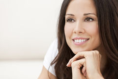 Happy Smiling Beautiful Woman Resting on Her Hands Royalty Free Stock Image