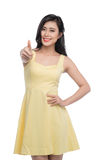Happy smiling beautiful young asian woman showing thumbs up gest Stock Photography