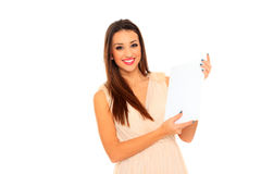 Happy smiling beautiful young business woman Stock Photo