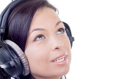 Happy Smiling Beautiful Young Woman Listening Music with Headpho Stock Photography