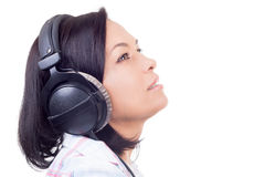 Happy Smiling Beautiful Young Woman Listening Music with Headpho Stock Images