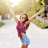 Happy smiling beautiful young woman showing two fingers or victo Royalty Free Stock Image