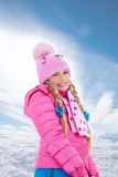 Happy smiling blond girl with cute braids Royalty Free Stock Image