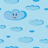 Happy smiling blue clouds seamless Stock Images